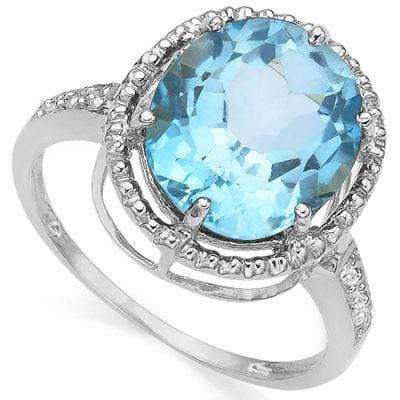 BEAUTIFUL 5.60 CT BLUE TOPAZ & 2 PCS WHITE DIAMOND PLATINUM OVER 0.925 STERLING SILVER RING wholesalekings wholesale silver jewelry