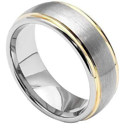 BEAUTIFUL BRUSH AND GOLD FINISH CARBIDE TUNGSTEN RING - Wholesalekings.com
