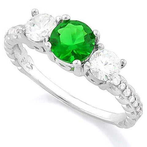 BEAUTIFUL! CREATED EMERALD 925 STERLING SILVER HALO RING - Wholesalekings.com