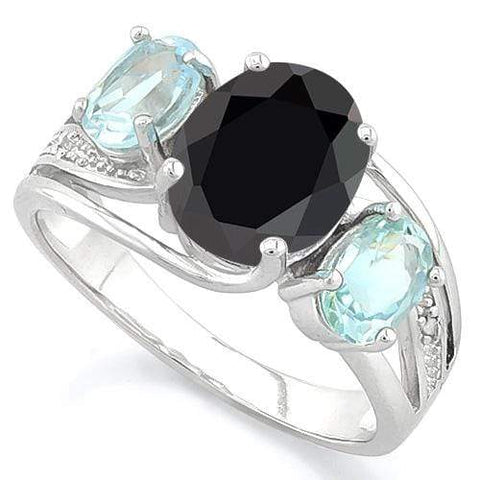 BLACK SAPPHIRE & 1 1/5 CT BABY SWISS BLUE TOPAZ 925 STERLING SILVER RING - Wholesalekings.com