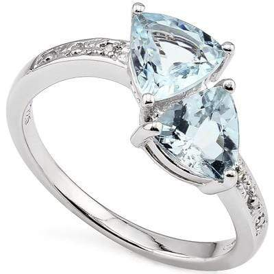 BRILLIANT 0.76 CARAT  BLUE TOPAZ & GENUINE DIAMOND PLATINUM OVER 0.925 STERLING SILVER RING - Wholesalekings.com