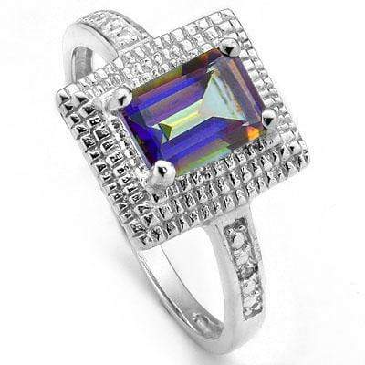 BRILLIANT 0.96 CT OCEAN MYSTIC GEMSTONE & 2PCS GENUINE DIAMOND PLATINUM OVER 0.925 STERLING SILVER RING - Wholesalekings.com