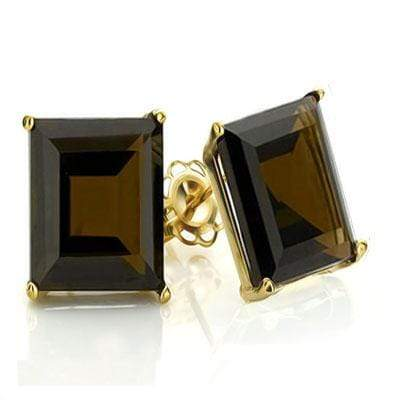 BRILLIANT 1.1 CARAT TW (2 PCS) SMOKEY TOPAZ 10K SOLID YELLOW GOLD EARRINGS - Wholesalekings.com