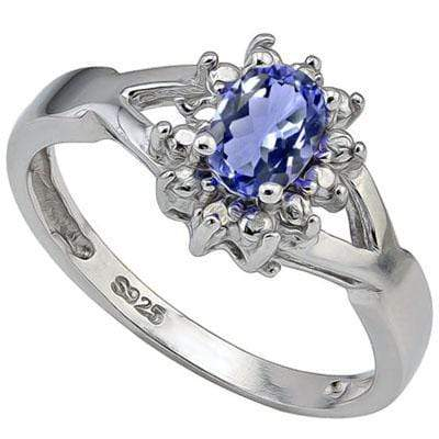 BRILLIANT 1.287 CARAT TW  LAB TANZANITE & GENUINE DIAMOND PLATINUM OVER 0.925 STERLING SILVER RING - Wholesalekings.com