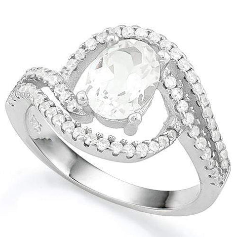 BRILLIANT ! 1.42 CT WHITE TOPAZ & 9PCS CREATED DIAMOND 925 STERLING SILVER RING wholesalekings wholesale silver jewelry