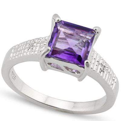 BRILLIANT 1.574 CARAT TW AMETHYST & GENUINE DIAMOND PLATINUM OVER 0.925 STERLING SILVER RING - Wholesalekings.com