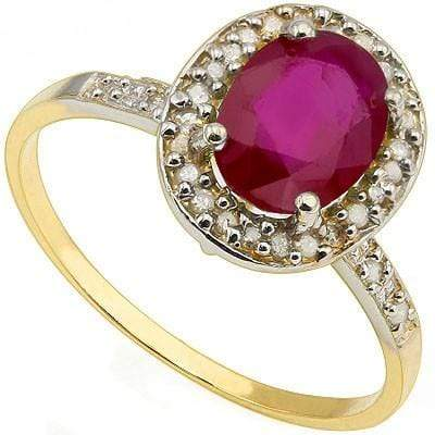 BRILLIANT 1.72 CT AFRICAN RUBY & 28 PCS WHITE DIAMOND 10K SOLID YELLOW GOLD RING - Wholesalekings.com