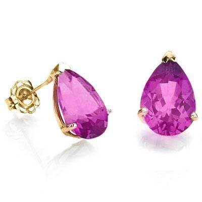 BRILLIANT 1 CARAT TW (2 PCS) CREATED PINK SAPPHIRE 10K SOLID YELLOW GOLD EARRING - Wholesalekings.com