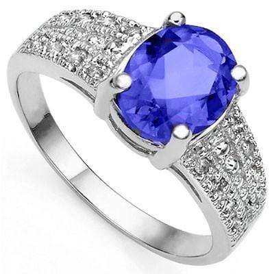 BRILLIANT 2.01 CT GENUINE TANZANITE & 16 PCS WHITE DIAMOND 10K SOLID WHITE GOLD RING wholesalekings wholesale silver jewelry