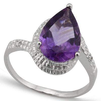 BRILLIANT 2.512 CARAT TW (3 PCS) AMETHYST & GENUINE DIAMOND PLATINUM OVER 0.925 STERLING SILVER RING - Wholesalekings.com