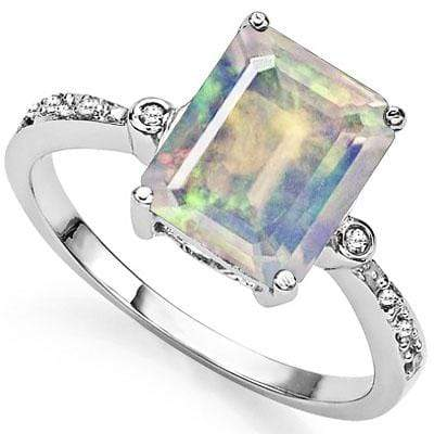 BRILLIANT 2.86 CARAT TW CREATED FIRE OPAL & GENUINE DIAMOND PLATINUM OVER 0.925 STERLING SILVER RING - Wholesalekings.com