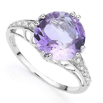 BRILLIANT 3.30 CT AMETHYST & 2 PCS WHITE DIAMOND PLATINUM OVER 0.925 STERLING SILVER RING - Wholesalekings.com
