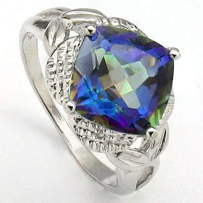 BRILLIANT 4.02 CT BLUE MYSTIC GEMSTONE & 2PCS GENUINE DIAMOND PLATINUM OVER 0.925 STERLING SILVER RING - Wholesalekings.com