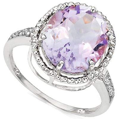 BRILLIANT 5.16 CT PINK AMETHYST & 6 PCS GENUINE DIAMOND 10K SOLID WHITE GOLD RING wholesalekings wholesale silver jewelry