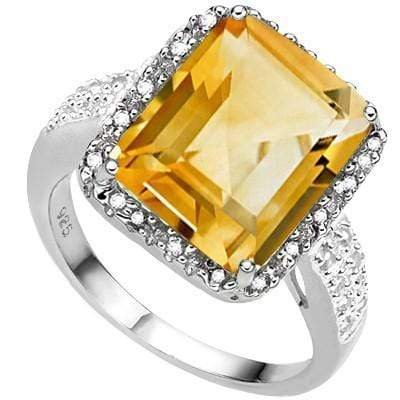 BRILLIANT 5.76 CT CITRINE & 2 PCS WHITE DIAMOND PLATINUM OVER 0.925 STERLING SILVER RING wholesalekings wholesale silver jewelry