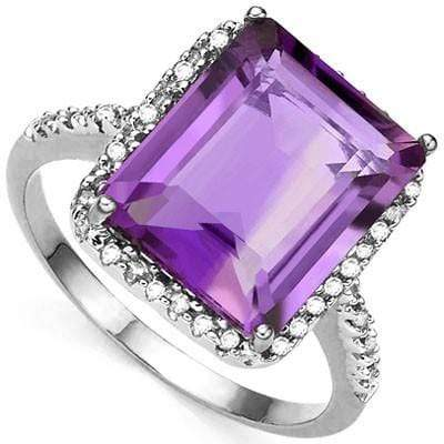 BRILLIANT 8.00 CT AMETHYST & 2 PCS WHITE DIAMOND PLATINUM OVER 0.925 STERLING SILVER RING - Wholesalekings.com
