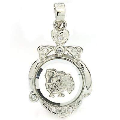 BRILLIANT WHITE GERMAN SILVER ROTATABLE CHINESE ZODIAC ROOSTER PENDANT - Wholesalekings.com