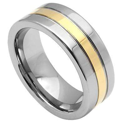 BRILLIANT YELLOW AND WHITE STRIPE CARBIDE TUNGSTEN RING wholesalekings wholesale silver jewelry