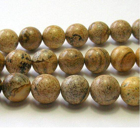 "Brown Round Picture Jasper Beads Natural Stone Beads 12 mm Strand 15""/DIY For Je - Wholesalekings.com"
