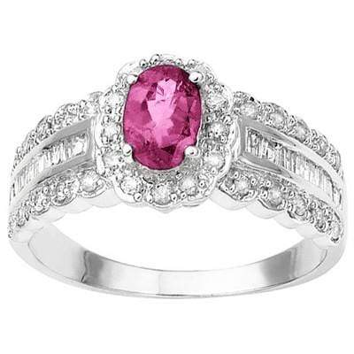 CAPTIVATING 0.49 CT GENUINE PINK SAPPHIRE & 32 PCS WHITE DIAMOND 10K SOLID WHITE GOLD RING wholesalekings wholesale silver jewelry