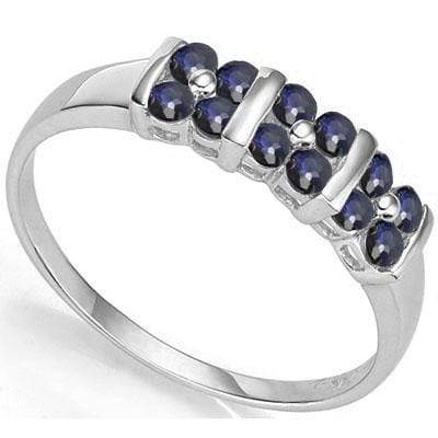 CAPTIVATING 0.78 CARAT TW GENUINE SAPPHIRE PLATINUM OVER 0.925 STERLING SILVER RING - Wholesalekings.com