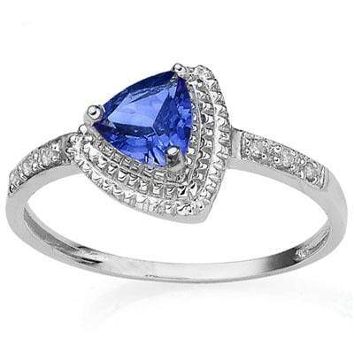 CAPTIVATING 0.79 CARAT TW LAB TANZANITE & GENUINE DIAMOND PLATINUM OVER 0.925 STERLING SILVER RING - Wholesalekings.com