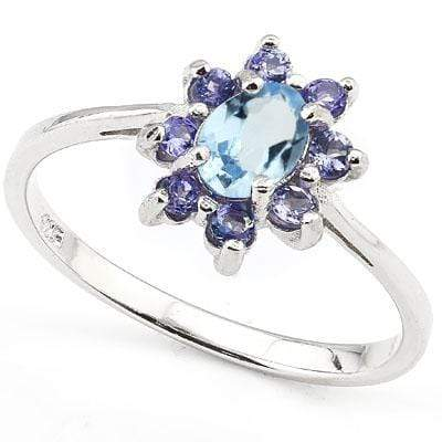 CAPTIVATING 0.808 CARAT TW (9 PCS) BLUE TOPAZ & GENUINE TANZANITE PLATINUM OVER 0.925 STERLING SILVER RING wholesalekings wholesale silver jewelry