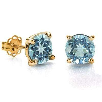 CAPTIVATING 0.9 CARAT TW (2 PCS) BLUE TOPAZ 10K SOLID YELLOW GOLD EARRINGS - Wholesalekings.com