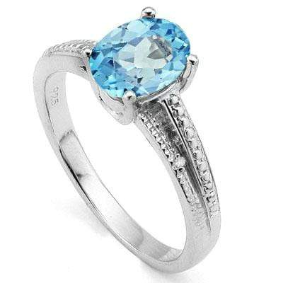 CAPTIVATING 1.65 CT BLUE TOPAZ & 2 PCS WHITE DIAMOND PLATINUM OVER 0.925 STERLING SILVER RING - Wholesalekings.com
