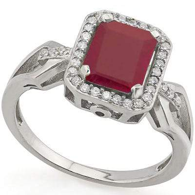 CAPTIVATING 1.857 CARAT TW DYED GENUINE RUBY & GENUINE DIAMOND PLATINUM OVER 0.925 STERLING SILVER RING - Wholesalekings.com