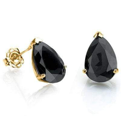 CAPTIVATING 1 CARAT TW (2 PCS) GENUINE BLACK SAPPHIRE 10K SOLID YELLOW GOLD EARR - Wholesalekings.com