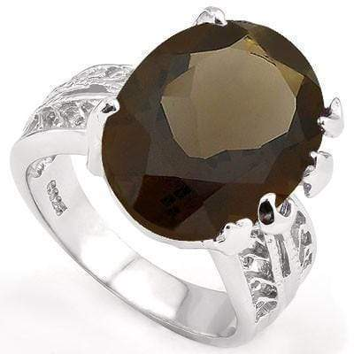 CAPTIVATING 13.00 CT SMOKEY TOPAZ PLATINUM OVER 0.925 STERLING SILVER RING wholesalekings wholesale silver jewelry