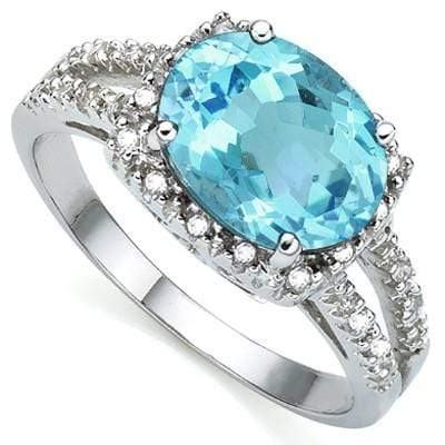 CAPTIVATING 2.17 CT BLUE TOPAZ & 2 PCS WHITE DIAMOND 0.925 STERLING SILVER W/ PLATINUM RING wholesalekings wholesale silver jewelry