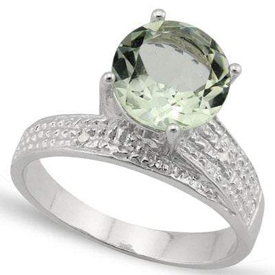 CAPTIVATING 2.522 CARAT TW (3 PCS) GREEN AMETHYST & GENUINE DIAMOND PLATINUM OVER 0.925 STERLING SILVER RING - Wholesalekings.com