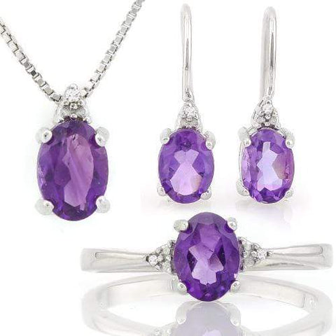 CAPTIVATING 2.997 CARAT TW AMETHYST & GENUINE DIAMOND PLATINUM OVER 0.925 STERLING SILVER SET - Wholesalekings.com