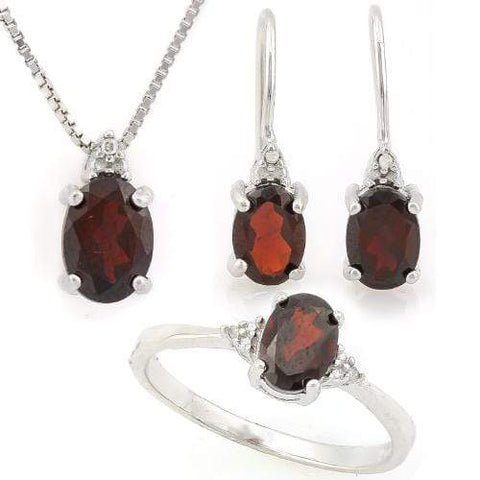 CAPTIVATING ! 3 3/5 CARAT GARNET & DIAMOND 925 STERLING SILVER SET - Wholesalekings.com