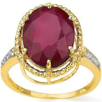 CAPTIVATING 4.61 CT AFRICAN RUBY & 6PCS GENUINE DIAMOND 10K SOLID YELLOW GOLD RI - Wholesalekings.com