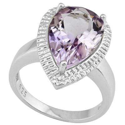 CAPTIVATING 5.35 CT PINK AMETHYST & 2PCS GENUINE DIAMOND PLATINUM OVER 0.925 STERLING SILVER RING - Wholesalekings.com