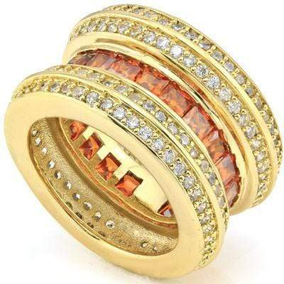 CAPTIVATING 5.40 CT CREATED ORANGE SAPPHIRE & 160 PCS CREATED WHITE SAPPHIRE 18K YELLOW GOLD OVER STERLING SILVER RING wholesalekings wholesale silver jewelry