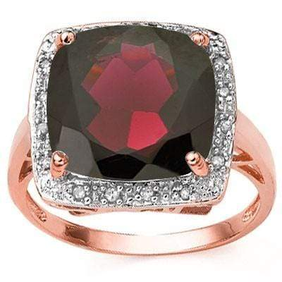 CAPTIVATING 7.57 CT GARNET & 16 PCS GENUINE DIAMOND 10K SOLID ROSE GOLD RING wholesalekings wholesale silver jewelry