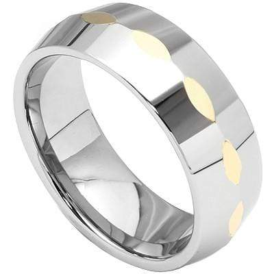 CAPTIVATING FACETED HEAVYLY POLISHED  CARBIDE TUNGSTEN RING - Wholesalekings.com