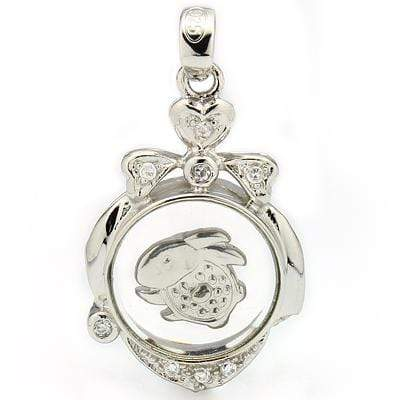CAPTIVATING ROTATABLE CHINESE ZODIAC RABBIT WHITE GERMAN SILVER PENDANT - Wholesalekings.com