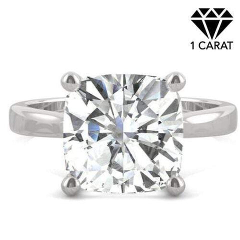 CERTIFIED 1.00 CT DIAMOND CUSHION CUT MOISSANITE (VS) SOLITAIRE 14KT SOLID WHITE GOLD ENGAGEMENT RING - Wholesalekings.com