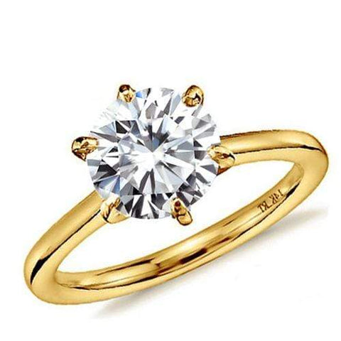 CERTIFIED 1.00 CT DIAMOND MOISSANITE (VS) SOLITAIRE 14KT SOLID GOLD ENGAGEMENT RING - Wholesalekings.com
