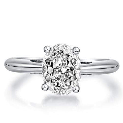CERTIFIED 1.30 CT DIAMOND OVAL MOISSANITE (VS) SOLITAIRE 14KT SOLID WHITE GOLD ENGAGEMENT RING - Wholesalekings.com