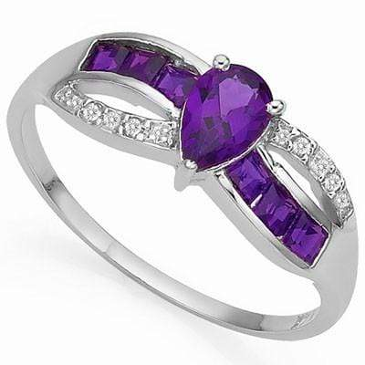 CHARMING 0.35 CT AMETHYST & 6 PCS AMETHYST 0.925 STERLING SILVER W/ PLATINUM  RING wholesalekings wholesale silver jewelry