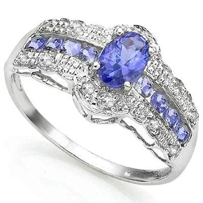 CHARMING 0.42 CT GENUINE TANZANITE & 8 PCS GENUINE TANZANITE 0.925 STERLING SILVER W/ PLATINUM RING - Wholesalekings.com