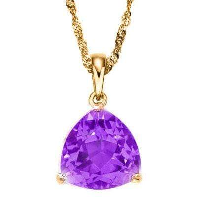 CHARMING 0.5 CARAT TW (1 PCS) AMETHYST 10K SOLID YELLOW GOLD PENDANT - Wholesalekings.com