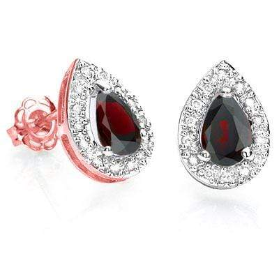 CHARMING 1.04 CT GARNET & 28 PCS GENUINE DIAMOND 10K SOLID ROSE GOLD EARRINGS wholesalekings wholesale silver jewelry