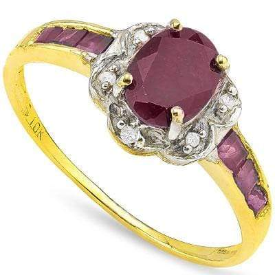 CHARMING 1.08 CT GENUINE RUBY & 6 PCS GENUINE RUBY 10K SOLID YELLOW GOLD RING wholesalekings wholesale silver jewelry